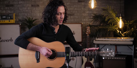 Joe George Reverb recording acoustic guitar with the best mic to record acoustic guitar LCT 640 TS microphone