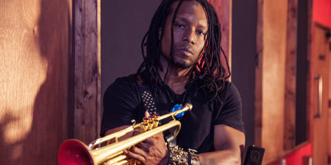 Dontae Winslow with trumpet at EchoBar Studios