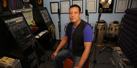 Richard Bravo with his DTP Beat Kit Pro 7 high quality studio drum mic kit