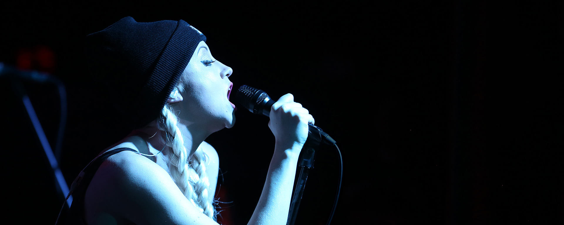 Christina Chriss with her MTP performance microphone