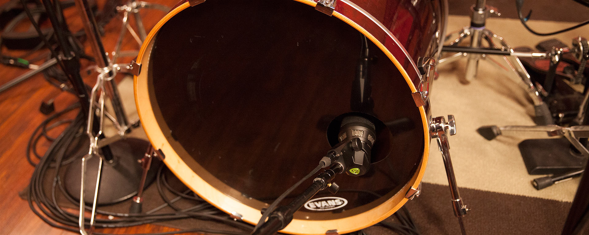 This image shows the DTP 640 REX dual element kick-drum microphone on a kick drum